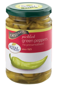 Organic pickled green peppers sliced